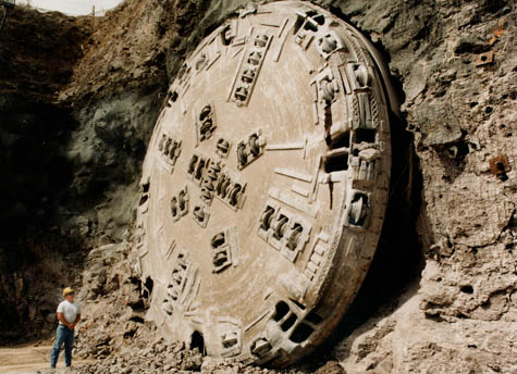 Tunnel Boring Machine daylights at Yucca Mountain