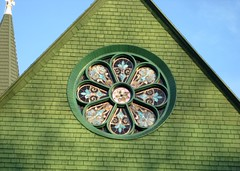 Rose Window (Eridony) Tags: green church window circle evening downtown michigan stjohns stainedglass smalltown placeofworship rosewindow saintjohns clintoncounty midmichigan
