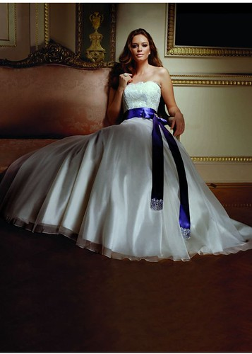 Strapless and a belt for a wedding dress.