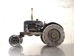 Metal Sculpture of an Allis Chalmers Tractor by Josh Welton