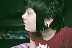 re pierced! (stray-kat) Tags: vampire mohawk piercings medusa picnik septum kittyshirt oneinchplugs bawlstodewaaaaall