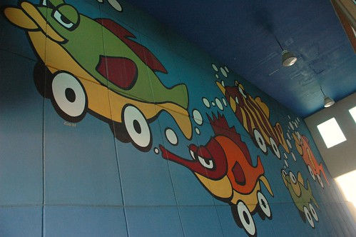 School of fish cars, drive-through,  signed by artist CisKo 2003, La Paz, Mexico by Wonderlane