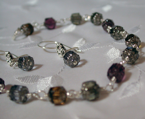 Silver and Glass Bracelet and Earrings