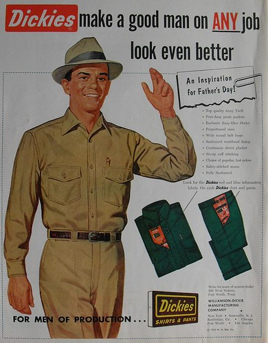 1953 Dickies Mens Pants Blue Collar Uniform Fashion Clothing Menswear Illustration Vintage Advertisement 1950s