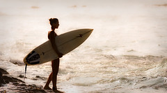 Going Out (konaboy) Tags: ocean sunset girl silhouette backlight hawaii warm surf surfer lifestyle babe surfing surfboard bigisland kona kailuakona wahine banyans 4627