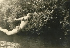 1930s vintage photo man diving into lake shirtless in square cut swim trunks (Christian Montone) Tags: shirtless lake man men swimming 1930s dive diving swimtrunks squarecut underwearandswimwear