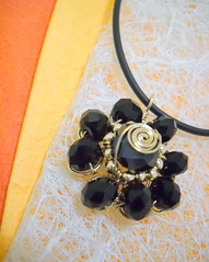 flower pendant with cord - black rondelles (y2k_maria) Tags: cord necklace wire gifts gift pearl accessories pendant pendants accessory goldfilled