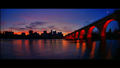 stone arch bridge minneapolis downtown (Dan Anderson (dead camera, RIP)) Tags: bridge sunset red orange reflection minnesota river mississippi downtown minneapolis riverfront bluehour mn guthrie stanthony stonearch stonearchbridge saintanthony millcityruins goldmedalpark riverfrontdistrict
