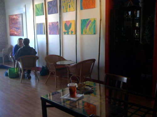 New art, white walls and smaller tables at The Library