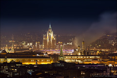 Moscow city at night. Aerial view (Dmitry Mordolff) Tags: life road street city morning winter light sky urban sun house snow cold building tower water car fog skyline architecture night skyscraper river outdoors town smog office construction downtown ship cityscape exterior apartment traffic russia dusk moscow district horizon dramatic center scene panoramic aerial illuminated tall residential cloudscape embankment futuristic scenics skyscrapes