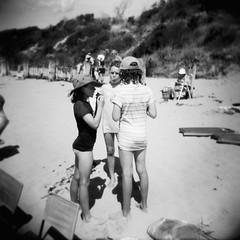 Beach babes (Kerrie McSnap) Tags: girls summer blackandwhite bw 120 film beach kids mediumformat children square holga lomo lomography sand toycamera kodaktrix oceangrove bellarinepeninsula