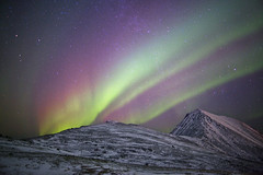 Aurora rainbow, Tromvik (antonyspencer) Tags: winter red snow mountains green norway night circle stars landscape lights rainbow europe purple north arctic aurora fjord colourful spencer northern antony borealis tromso troms troms visipix
