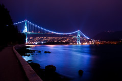 Lion's Gate Bridge (Jordy Brisbin : REALTOR) Tags: ocean park city canada night vancouver nikon bc waterfront seawall burrardinlet stanleypark lionsgatebridge northvancouver westvancouver d90 nikond90