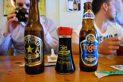 Sapporo Beer, Yamasa Shoyu, Tiger Beef - Izakaya Chuji