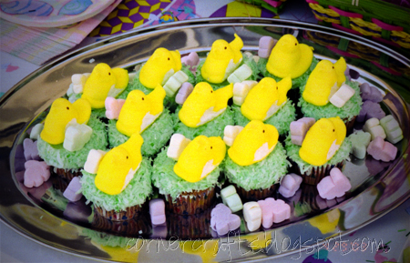 2nd-birthday-party-easter-girl-cupcake-coconut-grass-peeps