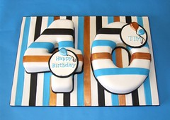Stripy 40th Birthday Cake (Alix'sCakes - away for a while) Tags: birthday ri blue white black cake bronze balloons shaped number 40 striped forty stripy plaques fondant pastillage runout alixscakes