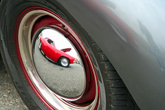 Plymouth Reflecting Chevy SS (Starlite Wonder Imaging) Tags: auto red chevrolet car wheel hub digital canon wonder photography evening march washington spring automobile unitedstates northwest weekend gray plymouth tire reflect chevy chrome imaging hubcap yola canonrebelxt carshow wheelcover clearview starlight snohomishcounty starlite