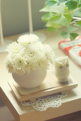 mums and shamrocks (bunbunlife) Tags: white house ikea vintage easter table happy living afternoon perfume room sunday retro mums owl jar shamrocks avon lack zakka candlesticks