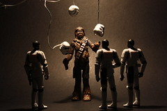 Let the Wookie juggle (before deleting the wires) (Stfan) Tags: toy starwars stormtroopers chewbacca