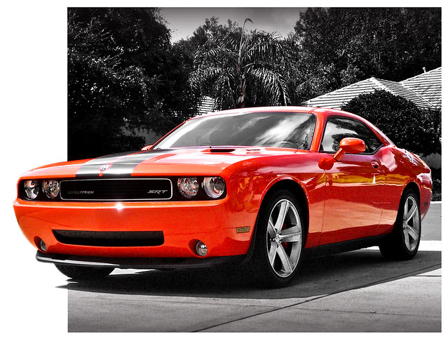 orange sports car race automobile 8 dodge challenger srt worldcars