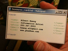 Albert Hwang's Business Card (caseorganic) Tags: artist business card txt information notepad exe phedhex