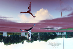 Boundless (JeezyDeezy) Tags: morning sky motion reflection clouds puddle jump jumping movement energy spirit running run gymnast athlete jogging runner leap jog leaping jogger boundless 3652011 week19theme