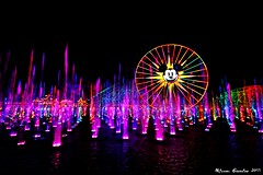 Rainbow Brite... (Ring of Fire Hot Sauce 1) Tags: reflection water colors lights rainbow disneyland mickeymouse fountains disneycaliforniaadventure paradisepier worldofcolor funwheel canont1i