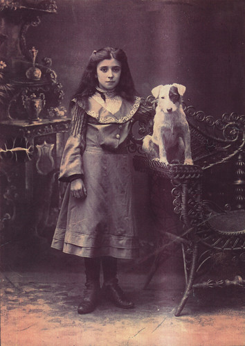 Annie Taylor with Jackie the dog, 1907.