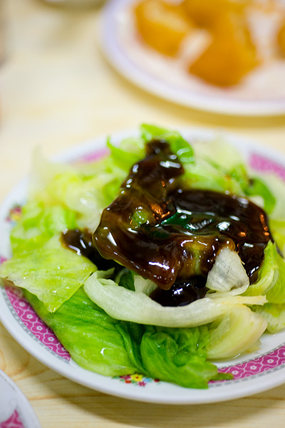 Steamed lettuce with oyster sauce at Nathan Congee and Noodle, Hong Kong