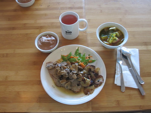 Cabbage soup, veal roast, mushroom sauce, veggies, potatoes, chocolate mousse, lemonade - $6