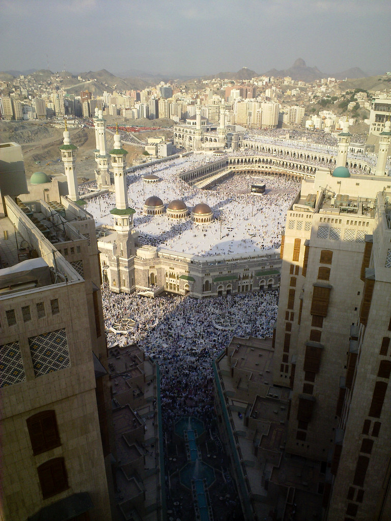 Hajj, Pilgrims, Mecca, Worshippers throng the streets and areas outside the Haram, or Grand mosque, in Mecca during afternoon prayer.