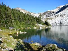 Taillefer Lake Shrinkage Experiment (Dru!) Tags: lake canada cold fall bc britishcolumbia steve meadow alpine pemberton tarn skinnydipping brr shrinkage coastmountains taillefer stemalot