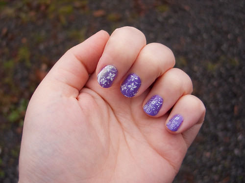 OPI Grape Fit white  nailart design pics