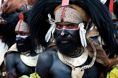Feathered Warrior in Black (Dave Schreier) Tags: new shells man black men face festival hair guinea paint mt painted feathers tribal tribe papua hagen