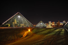 Muttart Conservatory, Edmonton (mschroeter140) Tags: canada skyline night nikon downtown edmonton capital sigma wideangle conservatory alberta 1020mm dri hdr muttartconservatory muttart d90