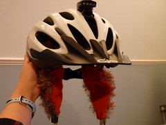 Furry, orange ears (antgirl) Tags: cycling knitting helmet earwarmers