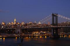Manhattan Bridge (foxpippo) Tags: nyc bridge usa ny newyork reflection night manhattan ponte 7d manhattanbridge empirestatebuilding hudson riflessi canoneos7d foxpippo