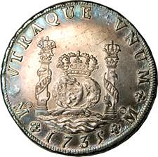 Fig 1.30, Milled Spanish Pillar Dollar 1735 (O)