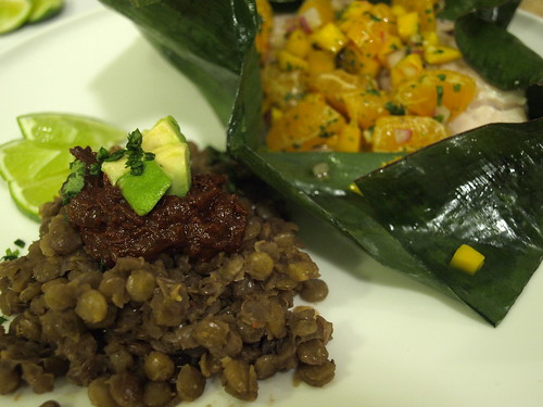 lentils with mole sauce; fish baked in banana leaves