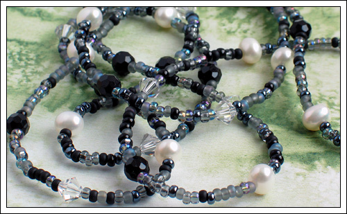 Seed bead, pearl, onyx & crystal necklace II