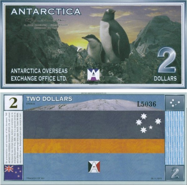 2 Doláre Antarktída 1999