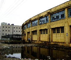 Peden Warehouse and Jail, 700 N. San Jacinto, Houston, Texas 0207101512 (Patrick Feller) Tags: yellow warehouse reflection houston harriscounty jail texas building architecture window door brick cmwd cmwdyellow demolished vanished peden ironsteel ironmountain united states north america