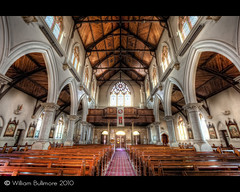 St Mary's Church  Warwick  Queensland (WilliamBullimore) Tags: wood windows church catholic au australia arches stainedglass ceiling aisle seats queensland catholicchurch warwick pews hdr hdri vaultedceiling stainedglasswindows expodisc digitalcameraclub colorphotoaward canonef1635mmf28liiusm canonrc1wirelessremote manfrotto190xbtripod canoneos5dmarkii manfrotto322rc2heavydutygripballhead