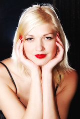 LA Confidential (VII) (kamborio london) Tags: red portrait white hands dress lips blonde stripper confidential