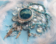 A Birds Eye View (fivefootfury) Tags: sky bird clouds flying necklace turquoise feathers bluesky jewelry birdseyeview beaded beadwork fivefootfury