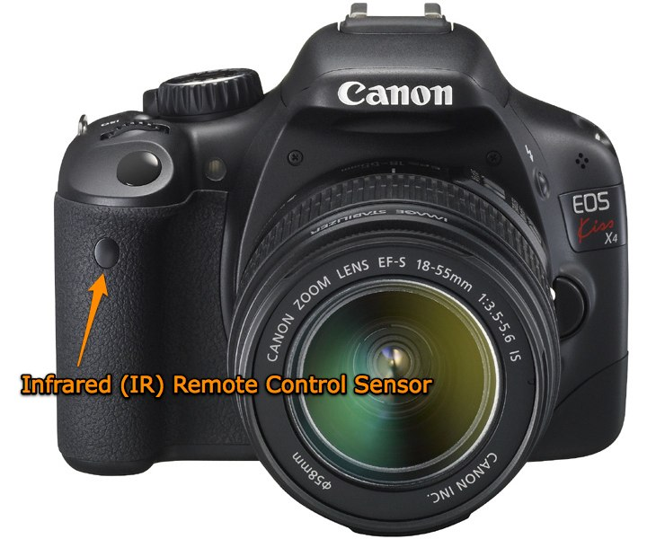 Infrared (IR) remote control sensor on the Canon T2i / 550D / Kiss X4