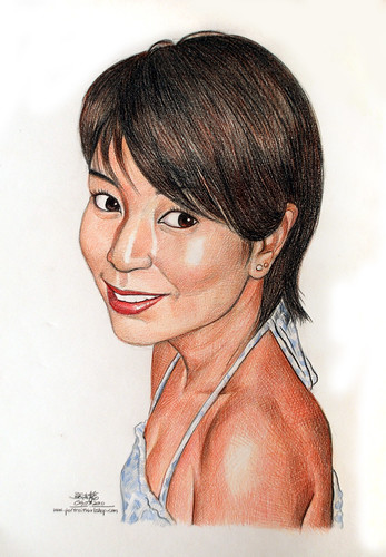 lady caricature in colourpencil 090310