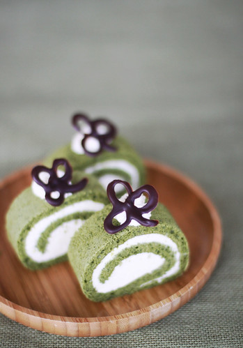 Matcha Swiss Roll with Baileys Flavoured Cream