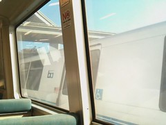 parallel tracks (Sharon Hahn Darlin) Tags: california race train video bart trains racing bayarea bartstation iphone bayarearapidtransit macarthurstation twotrains paralleltracks trainrace ohshootitwins
