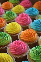 Neon Cupcakes for an 80's Themed Birthday (ConsumedbyCake) Tags: birthday pink blue party orange green cakes cookies yellow sparkles glitter sussex cupcakes worthing brighton neon sprinkles fluorescent 80s vanilla themed 1980 fluro bespoke buttercream consumedbycake